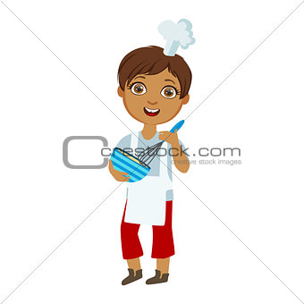 Boy Mixing Sauce In Bowl With Whip, Cute Kid In Chief Toque Hat Cooking Food Vector Illustration