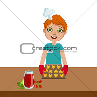 Boy Taking Cookies Out Of The Oven, Cute Kid In Chief Toque Hat Cooking Food Vector Illustration