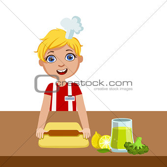 Boy With Rolling Pin, Cute Kid In Chief Toque Hat Cooking Food Vector Illustration