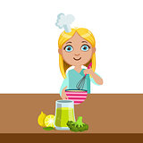 Girl Mixing In Bowl With Whip, Cute Kid In Chief Toque Hat Cooking Food Vector Illustration