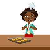 Boy Making Dough For Cookies, Cute Kid In Chief Toque Hat Cooking Food Vector Illustration