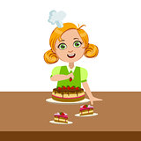 Girl Decorating The Cake, Cute Kid In Chief Toque Hat Cooking Food Vector Illustration