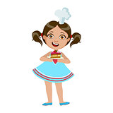 Girl Holding Plate With Piece Of Cake, Cute Kid In Chief Toque Hat Cooking Food Vector Illustration