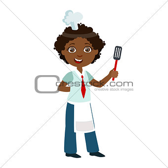 Boy With Spatula, Cute Kid In Chief Toque Hat Cooking Food Vector Illustration