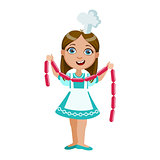 Girl Holding String Of Sausages, Cute Kid In Chief Toque Hat Cooking Food Vector Illustration
