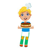 Boy Holding Chocolate Party Cake, Cute Kid In Chief Toque Hat Cooking Food Vector Illustration