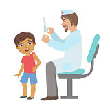 Pediatrician Doing A Vaccination To Little Boy, Part Of Kids Taking Health Exam Series Of Illustrations