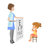 Ophthalmologist Checking Little Girl Eyesight, Part Of Kids Taking Health Exam Series Of Illustrations
