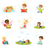 Happy and lovely children play and dream. Cartoon detailed colorful Illustrations