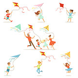 Kids and their parents running with kite happy and smiling. Cartoon detailed colorful Illustrations