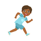 Happy little boy running and smiling, a colorful character