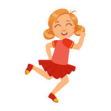 Happy little girl running and smiling in red dress, a colorful character