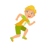 Boy running in yellow shirt with number one, a colorful character