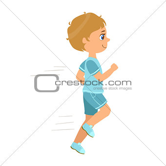 Little boy running in a blue shirt and shorts and smiling, a colorful character