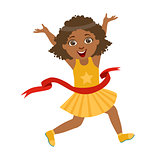 Happy girl run to the finish line first in yellow dress, a colorful character