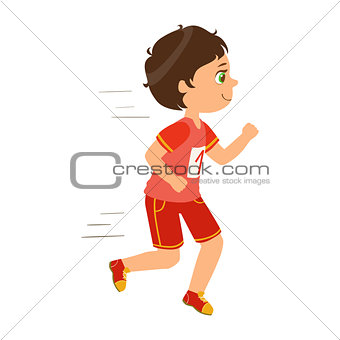 Little boy running, boy in motion, a colorful character