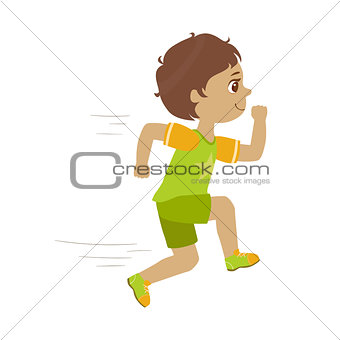 Little boy running in a green shirt and shorts, kid in a motion, a colorful character