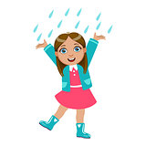 Girl Dancing Under Raindrops, Kid In Autumn Clothes In Fall Season Enjoyingn Rain And Rainy Weather, Splashes And Puddles