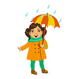 Girl In Yellow Coat And Scarf, Kid In Autumn Clothes In Fall Season Enjoyingn Rain And Rainy Weather, Splashes And Puddles