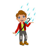 Boy In Red Jacket Catching Raindrops, Kid In Autumn Clothes In Fall Season Enjoyingn Rain And Rainy Weather, Splashes And Puddles