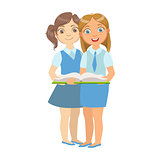 Two Girls In School Uniform Standing Reading A Book Together, Part Of Kids Loving To Read Vector Illustrations Series