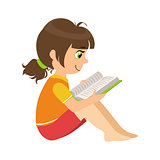 Girl Sitting On The Floor Reading A Book, Part Of Kids Loving To Read Vector Illustrations Series