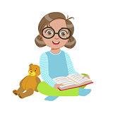 Girl In Glasses With Teddy Bear Reading A Book, Part Of Kids Loving To Read Vector Illustrations Series