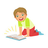 Boy Laughing Reading A Book, Part Of Kids Loving To Read Vector Illustrations Series