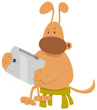 dog with tablet cartoon