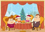 Family at home celebrating Christmas
