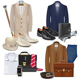 Vector Male Fashion Accessories Set 3