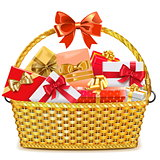 Vector Wicker Basket with Gifts