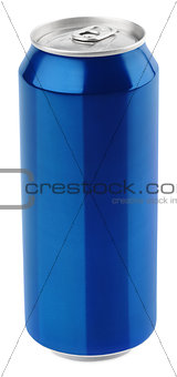 Blue aluminum beer can