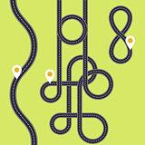 Road interweaving of loops - highway interchange with knots