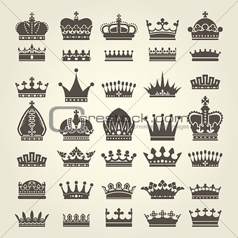 Crown icons set - monarchy authority and royal symbols