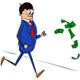 Vector illustrated cartoon businessman running after money.