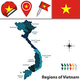 Map of Vietnam with Regions