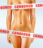 body covered with censorship tapes