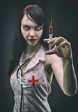 Monster nurse with syringe, horror style