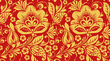 Red and gold hohloma seamless pattern texture