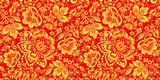 Hohloma in red and gold colors seamless pattern