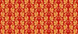 Hohloma seamless pattern, russian traditional folk