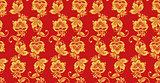Hohloma seamless pattern, russian culture decor