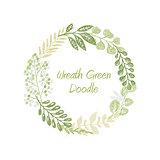 Green doodle circle wreath vector