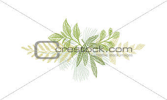 Greenery botanical hand drawn leaf decoration