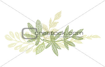 Green botanical hand drawn leaf composition