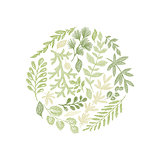 Round green floral hand drawn composition