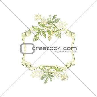 Green doodle flower hand drawn frame,