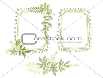 Green floral hand drawn frame, leaves decoration