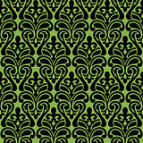 Seamless damascus ornament on greenery background